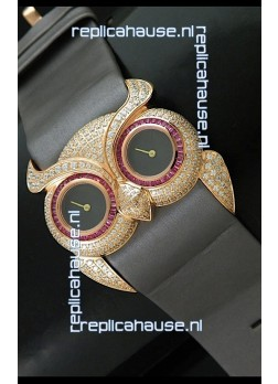 Chopard Animal World Ladies Owl Black Full Diamond Watch with Gold Plating
