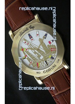 Corum Admiral's Cup Japanese Replica Watch in Brown Strap