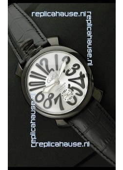 Gaga Milano Italy Japanese Replica PVD Watch in Black Markers