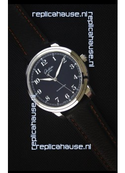 Glashuette Senator Excellence Black Dial Steel Case Swiss Replica Watch
