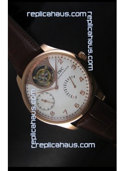 IWC Portugieser Tourbillon Rose Gold Watch in White Dial