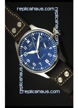 IWC Big Pilot IW500901 - Functional Power Reserve Brown Strap Blue Dial  1:1 Mirror Watch