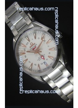 Omega Seamaster COAX GMT Stainless Steel Swiss Watch in White Dial