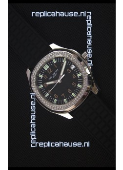 Patek Philippe Aquanaut Swiss Replica Watch with Swiss Diamonds Bezel