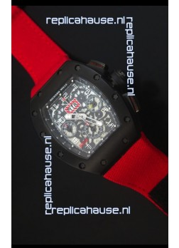 Richard Mille RM011 Filipe Massa PVD Swiss Replica Watch in Red Nylon Strap