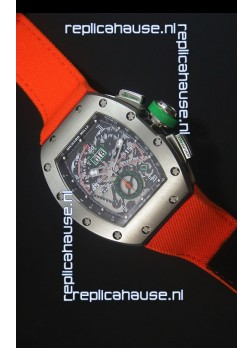 Richard Mille RM011 Filipe Massa Titanium Case Swiss Replica Watch in Orange Nylon Strap