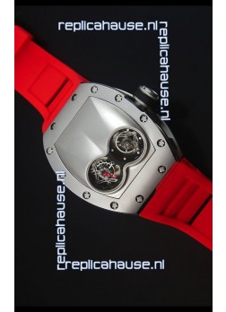 Richard Mille RM053 Tourbillon Pablo Mac Donough Swiss Replica Watch in Titanium Case Red Strap