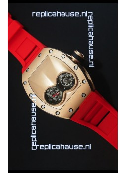 Richard Mille RM053 Tourbillon Pablo Mac Donough Pink Gold Case Red Strap Swiss Watch