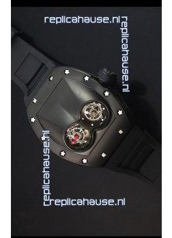 Richard Mille RM053 Tourbillon Pablo Mac Donough Swiss Replica Watch in PVD Case Black Strap