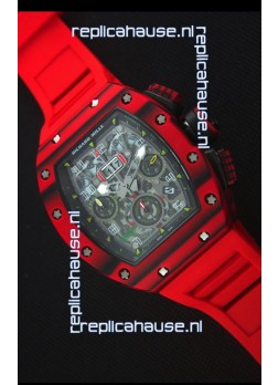 Richard Mille RM011-03 One Piece Red Forged Carbon Case Watch in Red Strap