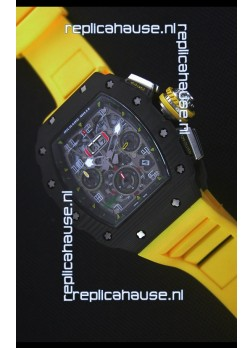 Richard Mille RM011-03 One Piece Black Forged Carbon Case Watch in Yellow Strap