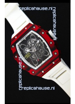 Richard Mille RM35-01 One Piece Red Forged Carbon Case Watch in White Strap
