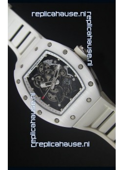 Richard Mille RM055 White Ceramic Case Watch in White Inner Bezel