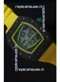 Richard Mille RM059 Yohan Blake Forged Carbon Case Swiss Replica Watch in Yellow Bezel