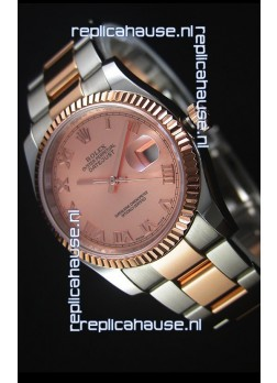 Rolex Datejust Replica Watch Rose Gold with Roman Dial in 36MM with 3135 Swiss Movement