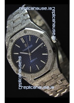 Audemars Piguet Royal Oak Frosted Self-Winding White Gold Blue Dial 1:1 Mirror Replica Watch