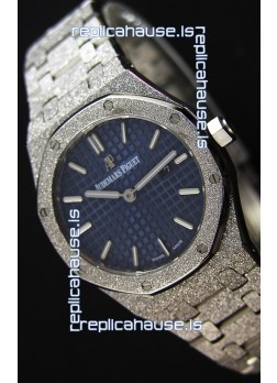 Audemars Piguet Royal Oak Frosted White Gold QUARTZ Watch Navy Blue 33MM - 1:1 Mirror Replica