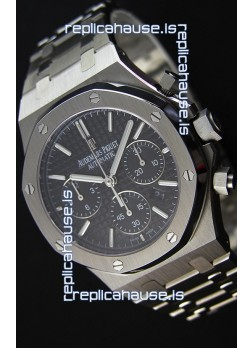 Audemars Piguet Royal Oak Chronograph Black Dial Steel Strap Swiss Replica Watch