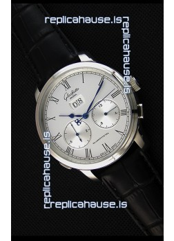 Glashuette Dual Sub Dial Japanese Replica Watch in White Dial