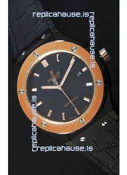 Hublot Classic Fusion Ceramic King Gold Black Dial Swiss Replica Watch - 1:1 Mirror Replica