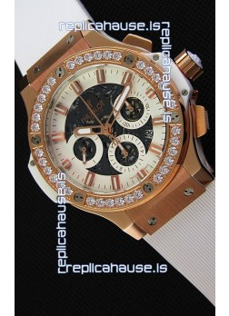 Hublot Big Bang Diamonds Bezel Watch in Pink Gold Case Swiss Replica Watch