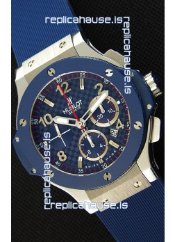 Hublot Big Bang Blue Steel Carbon Dial Swiss Replica Watch 1:1 Mirror Replica