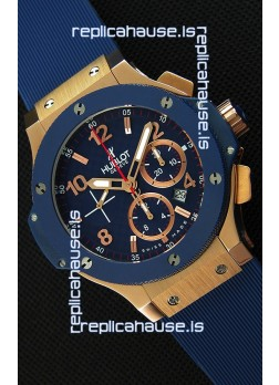 Hublot Big Bang Blue Pink Gold Case Swiss Replica Watch 1:1 Mirror Replica