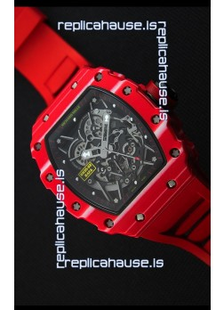 Richard Mille RM35-02 One Piece Red Forged Carbon Case Watch in Red Strap