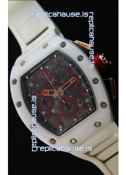 Richard Mille RM011-FM Felipe Massa White Ceramic Case Watch in White Strap