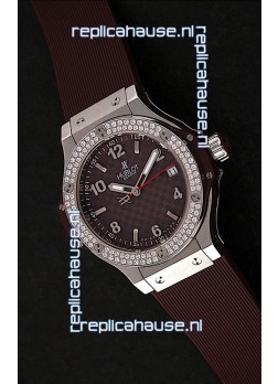 Hublot Big Bang King Swiss Quartz Watch in Checkered Brown Dial