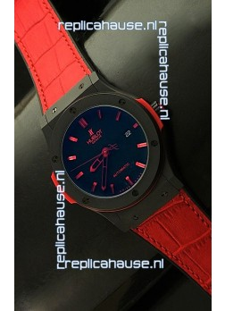 Hublot Big Bang Classic Fusion Ceramic Case Watch in Red Strap