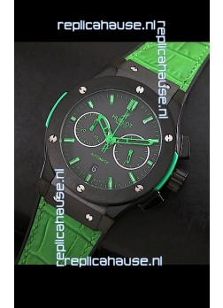 Hublot Big Bang Classic Fusion Swiss Replica PVD Watch in Green Strap