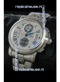 Mont Blanc Meisterstuck Star GMT Swiss Watch in White Dial