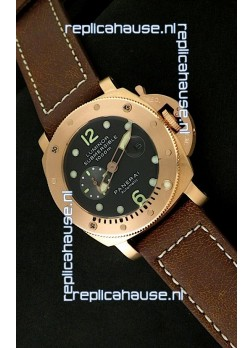 Panerai Luminor Submersible 1000M Japanese Automatic Rose Gold Watch in Black Dial