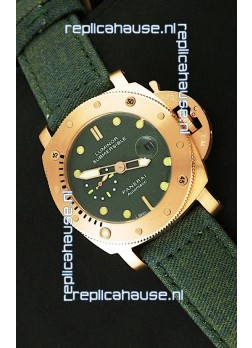 Panerai Luminor Submersible 1000M Japanese Automatic Rose Gold Watch in Green Dial
