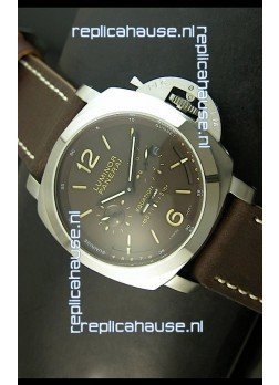 Panerai PAM365 L'Astronomo Luminor 1950 GMT Equation of Time Watch Brown Dial Steel