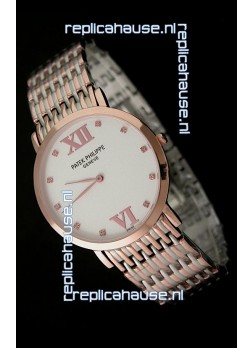 Patek Philippe Geneve Men Japanese Rose Gold Watch in White Dial