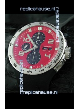 Porsche Design Flat Six P'6340 Swiss Chronograph Watch in Red Dial