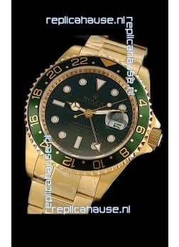 Rolex GMT Master II Swiss Replica Gold Watch in Green Bezel