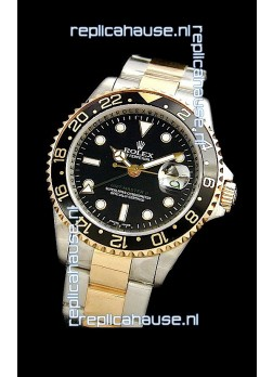 Rolex GMT Master II Swiss Replica Two Tone Gold Watch in Black Dial