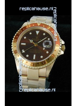 Rolex GMT Master II Swiss Replica Gold Watch in Dark Red Dial