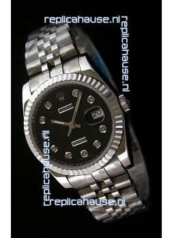 Rolex Datejust Mens Swiss Replica Watch in Black Dial
