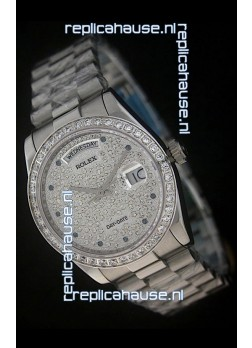 Rolex Day Date Just Japanese Replica Watch in Full Diamonds Dial