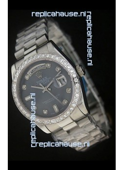 Rolex Day Date Just Japanese Replica Watch in Black Dial