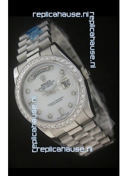 Rolex Day Date Just Japanese Replica Watch in White Dial