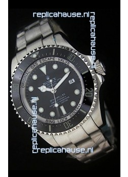 Rolex Sea-Dweller Deepsea Swiss Replica Steel Watch in Black Dial