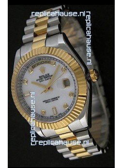 Rolex Day Date Just Japanese Replica Two Tone Gold Watch in Mop White Dial
