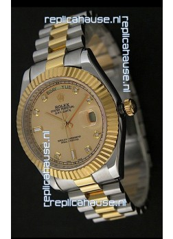 Rolex Day Date Just Japanese Replica Two Tone Gold Watch in Golden Dial
