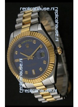 Rolex Day Date Just Japanese Replica Two Tone Gold Watch in Light Blue Dial