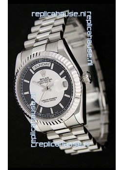 Rolex Day Date Just Japanese Replica Watch in Black & White Dial